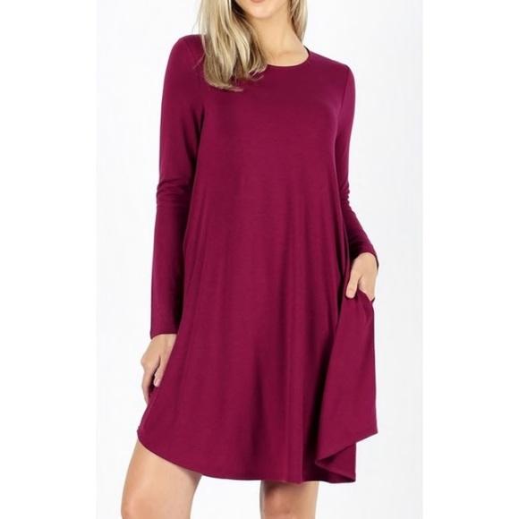 d3546933dfe4 🎉🎀HP🎀🎉 Raspberry Long Sleeve Tunic Dress